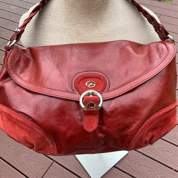 FRANCESCO BIASIA Red Leather/Suede Shoulder Bag